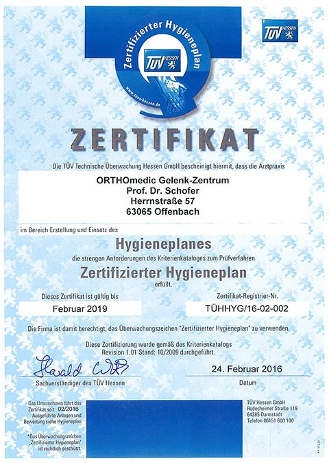 Zertifikat Hygieneplan